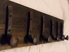 "6 Antique Hooks Old Railroad Spike Art ""Black Ebony"" Vintage Style Coat Rack"