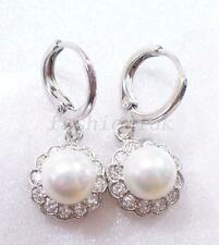 White Gold Plated CZ + Shell Pearl Xmas Bridal White Drop Flower Hoop Earrings