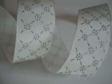 White Silver Flower frozen Wired Ribbon, Bows, Valentines Decorative, Crafts
