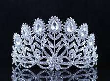 FLOWERS CLEAR AUSTRIAN CRYSTAL RHINESTONE TIARA CROWN BRIDAL PROM PAGEANT T11887