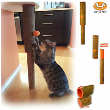 United Pets Cat Kitten Rope & Cane Scratching Post - Adjustable + Toy - Cat Pole