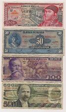 Four Banco De Mexico  Banknotes--No Pin Holes nor Tears !!