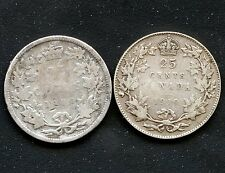 1900 & 1919 Canada 25 Cent Silver Coins