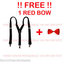 FREE RED BOW WITH Suspender Solid plain black suspenders limited stock FS55