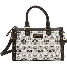 NWT Loungefly Black & White Sugar Skull Faux Leather Duffle/Crossbody Bag