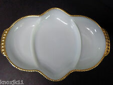 Vtg White Milk Glass 3 Way DIVIDED PLATTER Plate Relish Dish Gold Trim FIRE KING