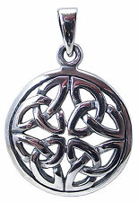 CELTIC TRINITY KNOT PENDANT 925 Sterling SILVER 25mm Diameter Triquetra