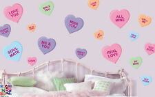 Love Heart Sayings - Pack of 18 Wall Art Vinyl Stickers Murals Decals Sweets