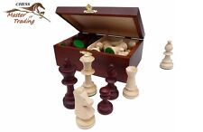 PROFESSIONAL CHESS PIECES STAUNTON No.5 IN WOODEN BOX, METAL WEIGHTED !!!