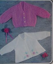 "BABY~GIRLS~JACKET~CARDIGAN~LACY DESIGN~KNITTING PATTERN~SIZE ~18-19"" (R92)"