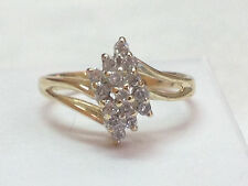 1/4 ct natural (REAL) DIAMOND ladies cluster ring SOLID 14k yellow GOLD