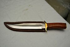 CUSTOM HAND MADE D2 BOWIE KNIFE WITH LEATHER HANDLE & BRASS CLIP