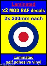 Laminated 2x 200mm RAF Roundel The Who Mod Target Scooter Decals stickers vespa