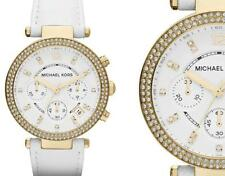 NEW Authentic Micheal Kors Parker Swarovski White Leather Ladies Watch MK2290
