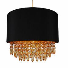 Modern Black Ceiling Light Pendant Shade w/ Gold Inner & Amber Droplet Beads