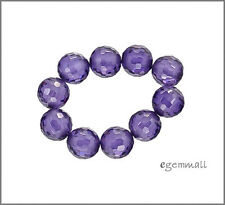 Cubic Zirconia Faceted Round Beads 8mm Amethyst Purple 8pc #64715
