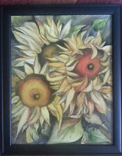 original sighned painting of the sunflowers wooden frame made in USA 14x11
