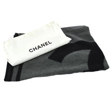 Authentic CHANEL Jumbo Blanket Merino Wool 90% Cashmere 10% Scotland AK13053