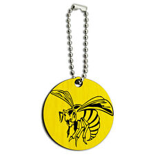 Bee Wasp Hornet Wood Wooden Round Key Chain