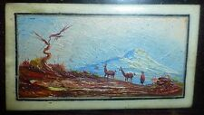 "MINIATURE OIL 1 X 2"" ART SIGNED QUITO ECUADOR ONE STROKE BRUSH LLAMA VINTAGE G"