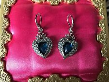 Betsey Johnson Heavens to Betsey Small Crystal Blue Angel Wing Heart Earrings