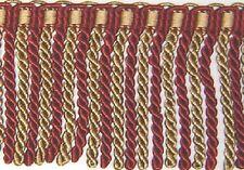 "5"" Bullion fringe Cranbarry red and Gold Matched Tassel Fringe, Gimp, Brush"