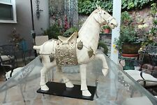 """Beautiful Huge Cattle Bone Carved Horse Statue with Saddle Figurine 16.5"""""""