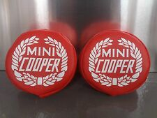 MINI COOPER CLASSIC AUXILLARY LAMP COVERS FOG SPOT LIGHT IN RED WITH WREATH LOGO