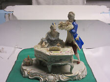 Antique Irish Dresden fine porcelain lady at piano man with flute made Ireland