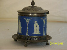 Antique c19th Century Wedgwood Biscuit Barrel w/Silver Stand w/Claw Feet
