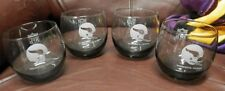 Set of 4 Minnesota Vikings football NFL 8 ounce smoked glasses vintage rocks