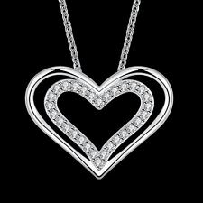 """20"""" 925 Silver Plated Fashion Hollow Heart Zircon Women Necklace Chain Jewelry"""