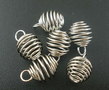 100 PCs Silver Tone Spiral Bead Cages Pendants 8x9mm