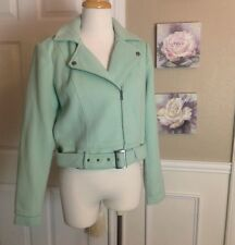 SPARKLE & FADE Anthropologie MINT Green Moto Motorcycle Jacket Coat Sz M NWOT