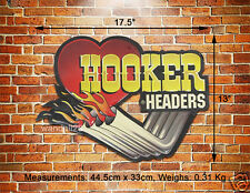 HOOKER Headers Custom Exhaust Pipes Embossed Metal Sign Wall Deco Garage Display