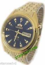 ORIENT AUTOMATIC DARK BLUE FACE GOLD BAND BRAND NEW WATCH DAY AND DATE