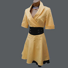 KAREN MILLEN Cotton Blend Yellow Shirt Trench Style 50's Cocktail Dress 10 UK