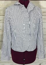 Jones New York Signature White Black Striped Ruffled Top Blouse Size S AS-IS