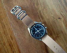 Horween Natural Veg Tan Horsehide Leather Watch Strap Band 20mm Navy Speedmaster