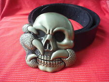 BIG SKULL AND CLAW BIKER SKELTON HEAVY METAL GOLD BUCKLE AND LEATHER BELT