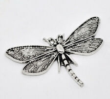 10 Silver Tone Dragonfly Charm Pendants 49x31mm
