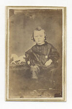 1860's CDV PHOTO CHILD W/ AMERICAN PAINTED TIN TOY HORSE, MADE FROM 1850's DAG.