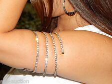 5 SPIRAL PARTY SILVER AB IRIDESCENT RHINESTONE BANGLE CRYSTAL UPPER ARM BRACELET