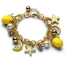 CUTE LEMON CHARM BRACELET Summer Fruit Bright Yellow Enamel NEW Star Rhinestones