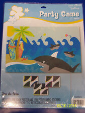 Little Luau Surfboard Summer Beach Birthday Pool Party Pin the Fin Shark Game