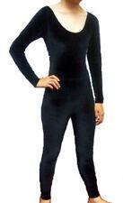 Avenues K606 Black Velvet Child's Size M (8-10) Long Sleeve Full Body Unitard