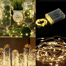 2M 20 LED Copper Wire String Battery Powered Waterproof Fairy Lights WARM WHITE