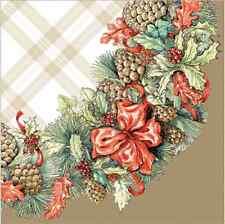 Noël 20 papier déjeuner serviettes guirlande avec cônes rouge vert hiver or/d