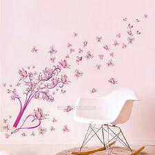 Pink Pencil Butterfly Tree Wall Sticker Princess Girls Room Decor Bedroom Mural