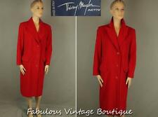 THIERRY MUGLER Italy Red Wool Blend Button Down Coat Long Jacket 40
